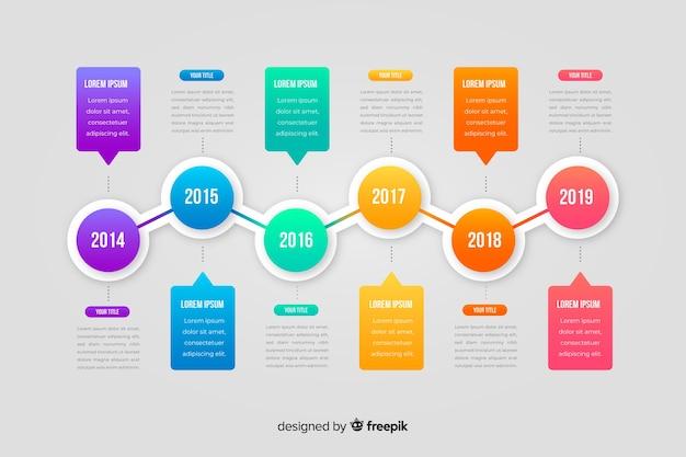 Flaches design der infographic-zeitachse-schablone Kostenlosen Vektoren