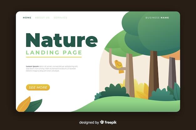 Flaches design der naturlandungsseite Kostenlosen Vektoren