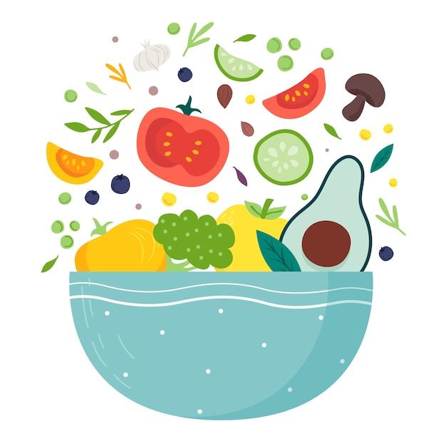 Flaches design der obst- und salatschüsseln Premium Vektoren