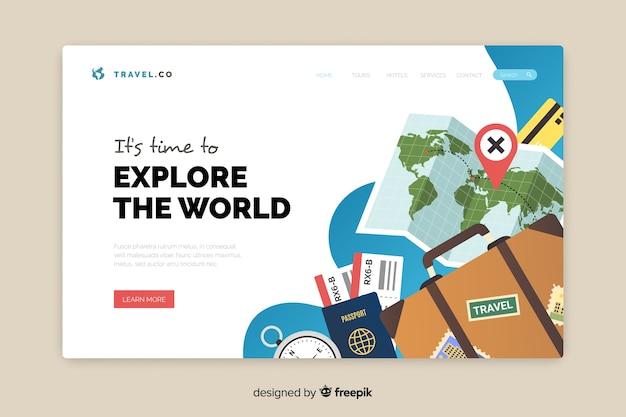 Flaches design der reiselandungsseite Kostenlosen Vektoren