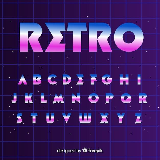 Flaches design der retro- alphabetschablone Kostenlosen Vektoren