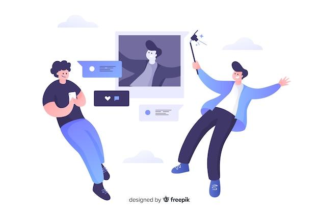 Flaches design der selbstfotokonzept-illustration Kostenlosen Vektoren
