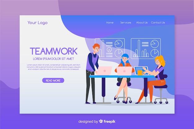 Flaches design der teamwork-landingpage-schablone Kostenlosen Vektoren