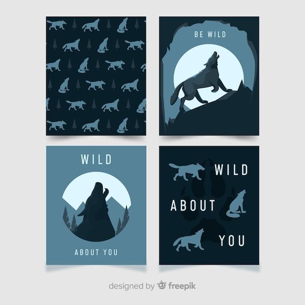 Flaches design der wolfkartensammlung Kostenlosen Vektoren