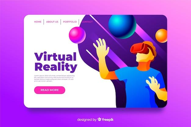 Flaches design der zielseiten-schablone der virtuellen realität Kostenlosen Vektoren