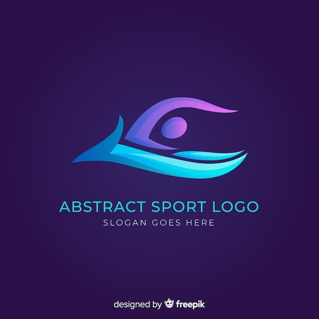 Flaches design des abstrakten schattenbildsport-logos Premium Vektoren