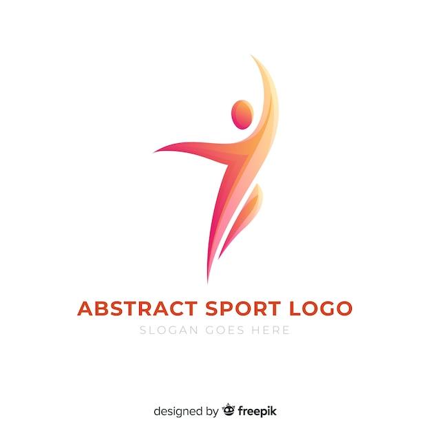 Flaches design des abstrakten schattenbildsport-logos Kostenlosen Vektoren