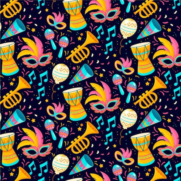 Flaches design des brasilianischen karnevalsmusters der musiknote und der instrumentals Kostenlosen Vektoren