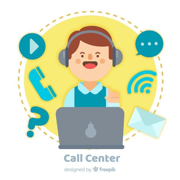 Flaches design des call-center-hintergrundes Kostenlosen Vektoren