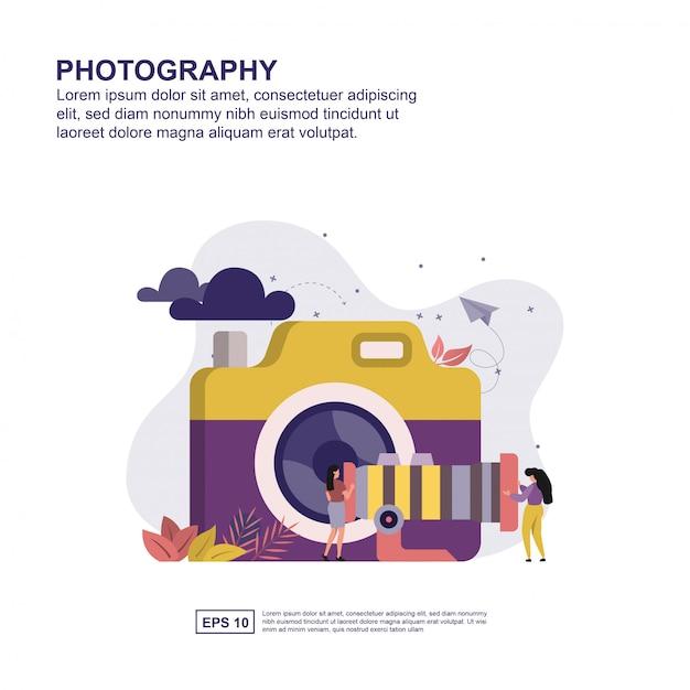 Flaches design des fotografiekonzeptes für darstellung. Premium Vektoren