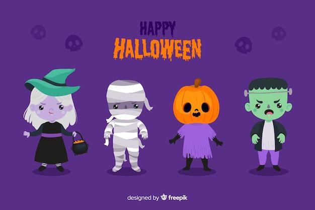 Flaches design des halloween-charakters Kostenlosen Vektoren