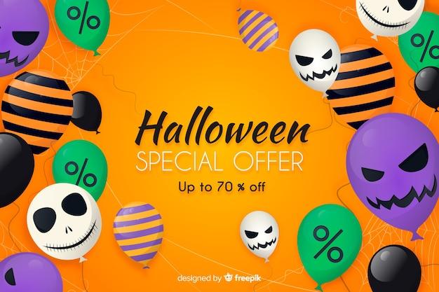 Flaches design des halloween-verkaufshintergrundes mit ballonen Kostenlosen Vektoren