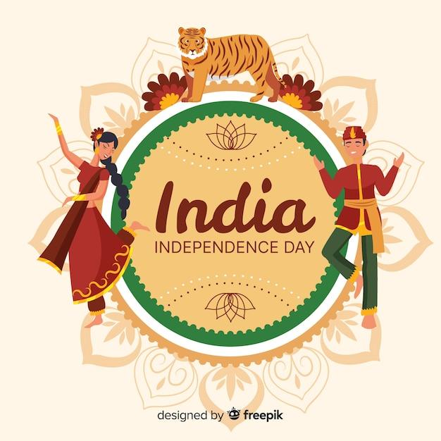 Flaches design des indien-unabhängigkeitstaghintergrundes Kostenlosen Vektoren