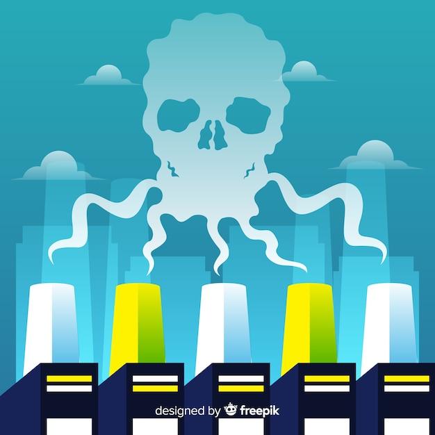 Flaches design des kontaminierenden rauchhintergrundes Kostenlosen Vektoren