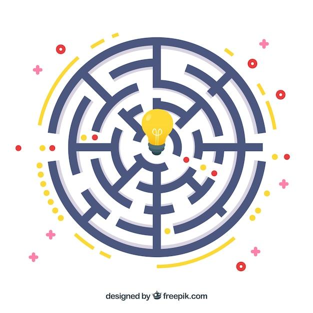 Flaches design des labyrinthgeschäftsideenkonzept-vektors Kostenlosen Vektoren
