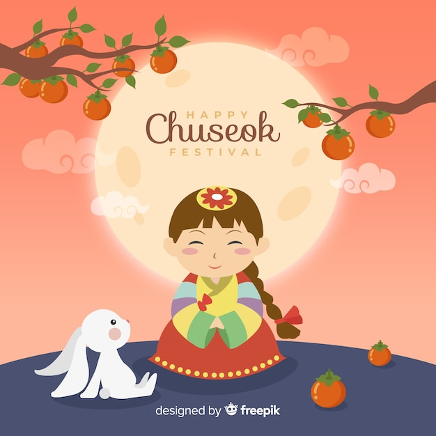 Flaches design des netten mädchens einen hanbok für chuseok tragend Kostenlosen Vektoren