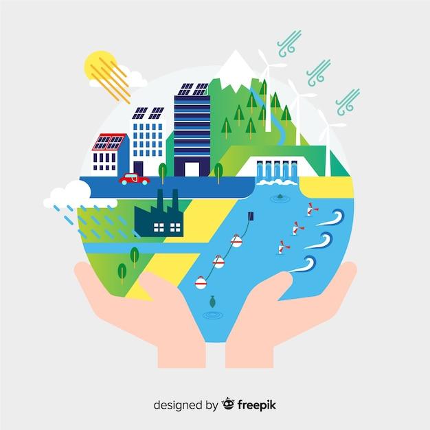 Flaches design des ökologiekonzept-hintergrundes Kostenlosen Vektoren