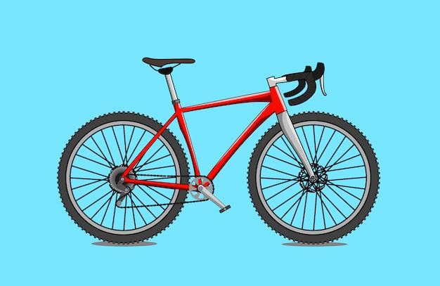 Flaches design des roten kiesfahrrads Premium Vektoren