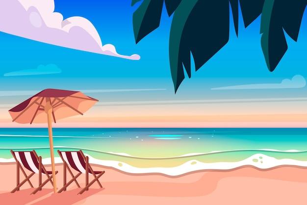 Flaches design des sommerhintergrunds Kostenlosen Vektoren