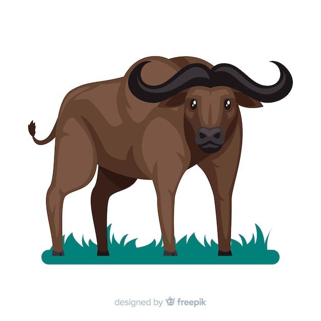 Flaches design des wilden büffels Kostenlosen Vektoren