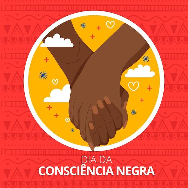 Flaches design dia da consciencia negra Premium Vektoren