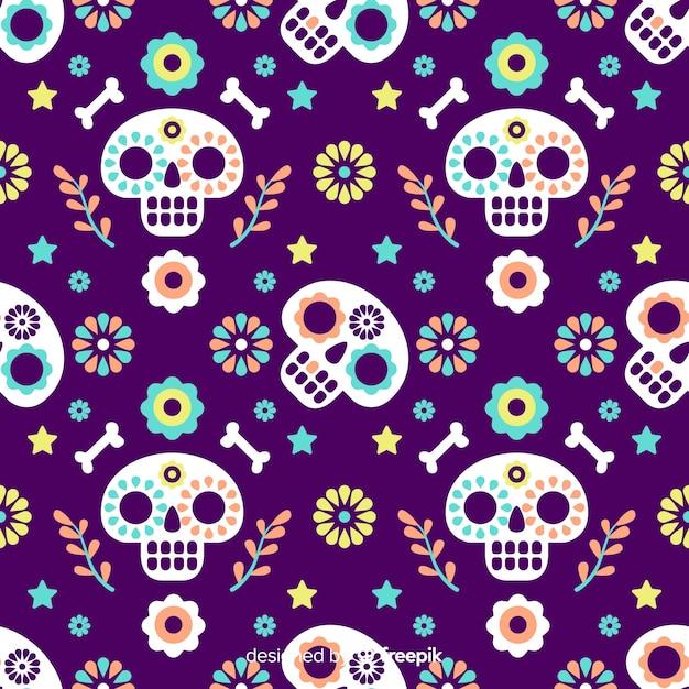Flaches design día de muertos muster Kostenlosen Vektoren