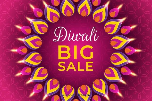 Flaches design diwali festival sale banner Kostenlosen Vektoren
