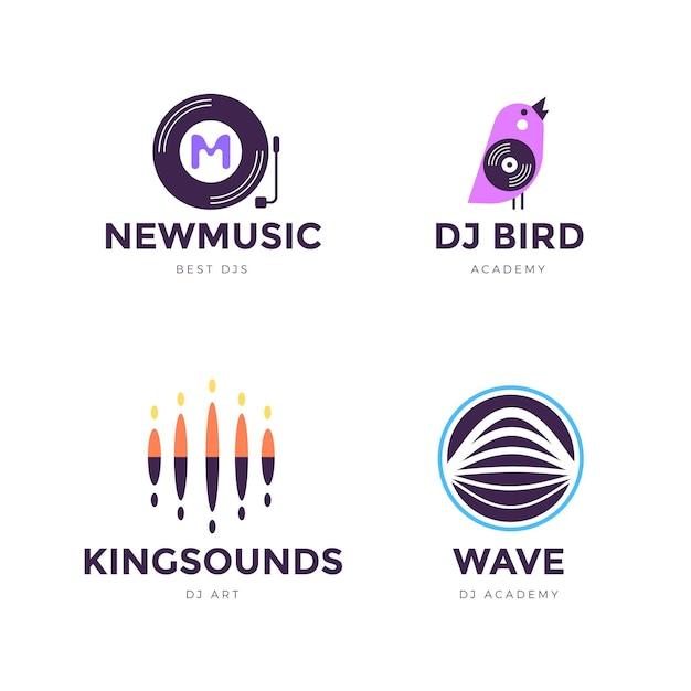 Flaches design dj logo sammlung Kostenlosen Vektoren