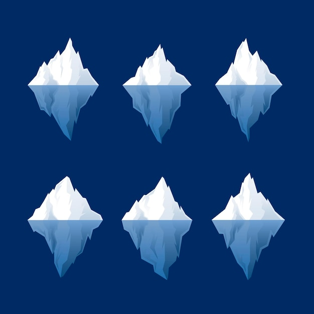 Flaches design-eisberg-set Kostenlosen Vektoren