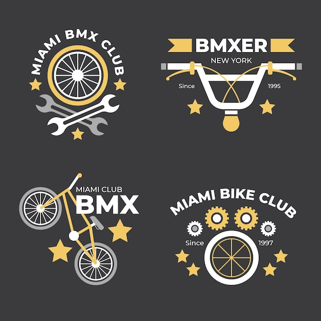 Flaches design fahrrad logo set Kostenlosen Vektoren