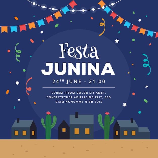 Flaches design festa junina in der nacht mit konfetti Premium Vektoren