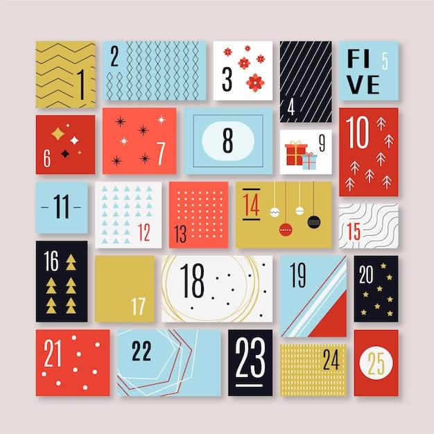 Flaches design festlichen adventskalender Kostenlosen Vektoren