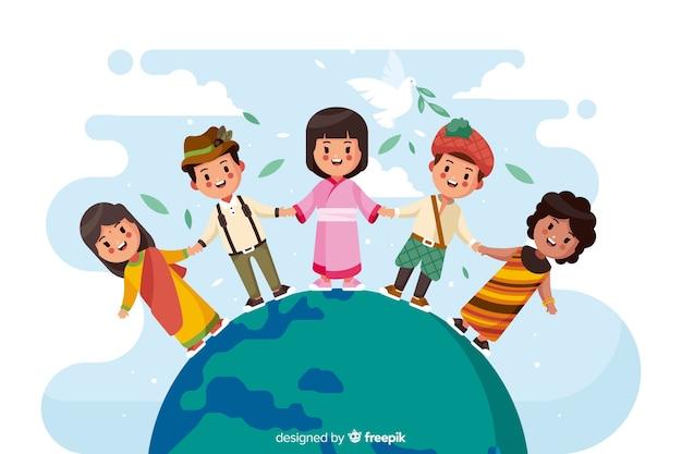 Flaches design friedenstag mit kindern Kostenlosen Vektoren