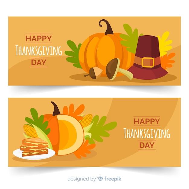 Flaches design für thanksgiving-banner Kostenlosen Vektoren