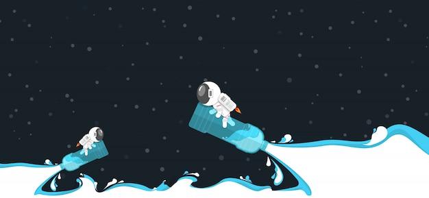 Flaches design, genießender astronaut während fahrt auf wasserflaschenplastik mit wasserkraftspritzen im konzept der erneuerbaren energie Premium Vektoren