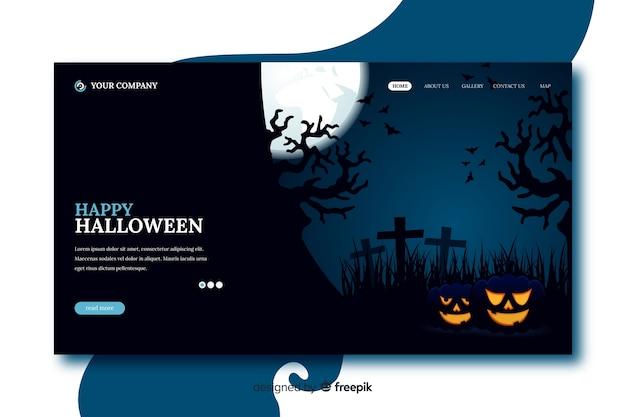 Flaches design glücklich halloween landing page Kostenlosen Vektoren
