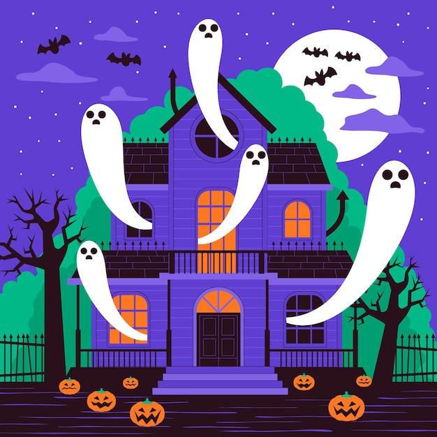Flaches design gruseliges halloween-haus Kostenlosen Vektoren