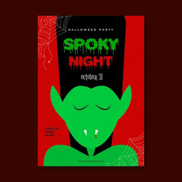 Flaches design gruseliges halloween-partyplakat mit vampir Kostenlosen Vektoren