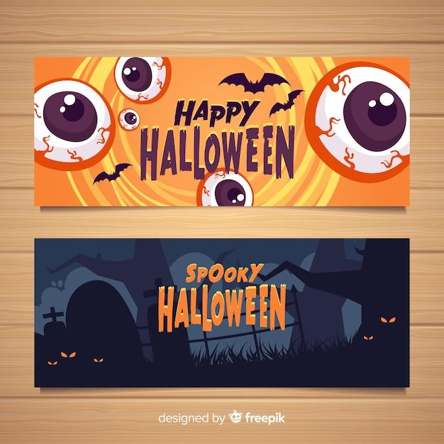 Flaches design halloween banner vorlage Kostenlosen Vektoren