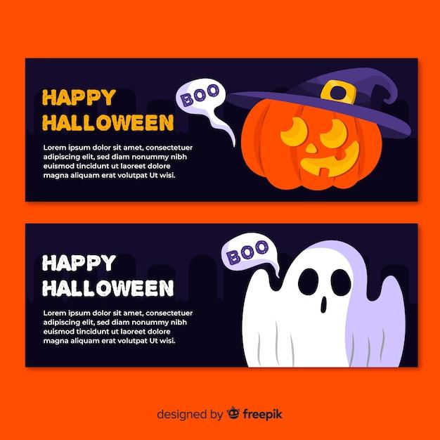 Flaches design halloween banner vorlagen Kostenlosen Vektoren