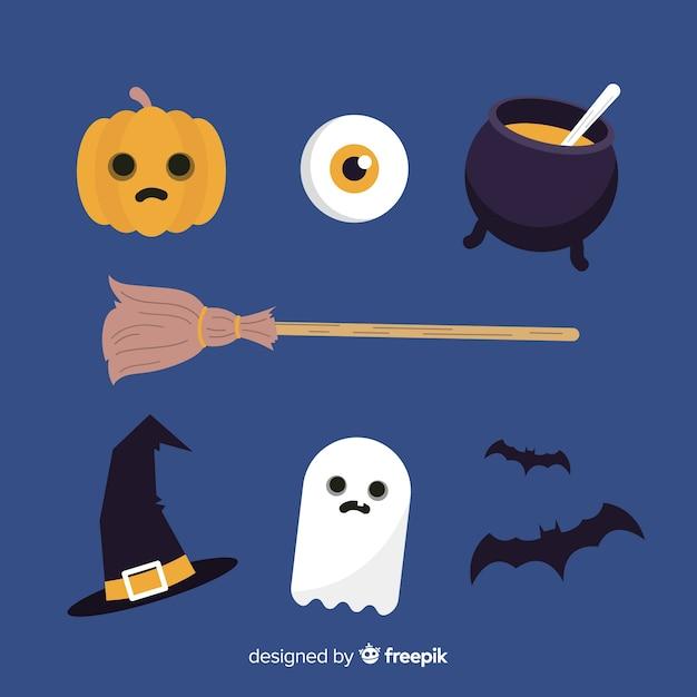 Flaches design halloween elementsammlung Kostenlosen Vektoren