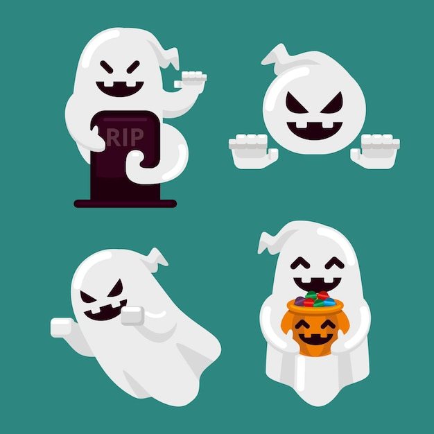 Flaches design halloween ghost pack Kostenlosen Vektoren