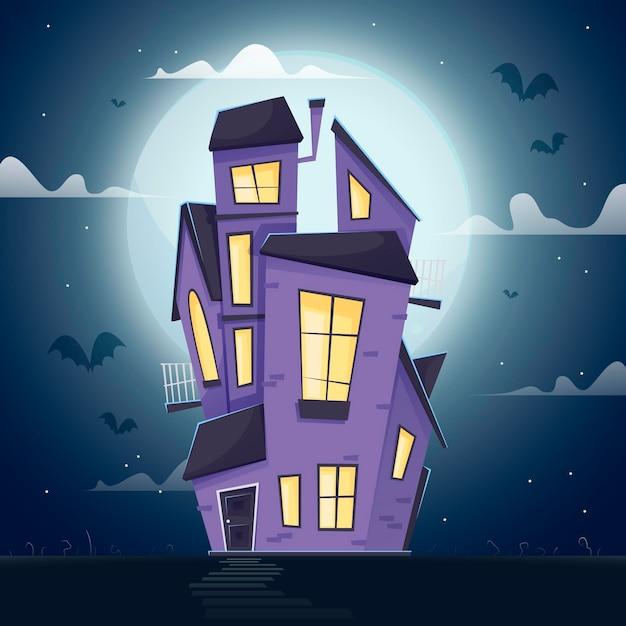 Flaches design halloween-haus in der nacht Kostenlosen Vektoren