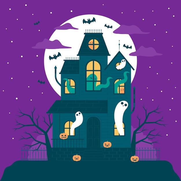 Flaches design halloween-haus mit geistern Kostenlosen Vektoren