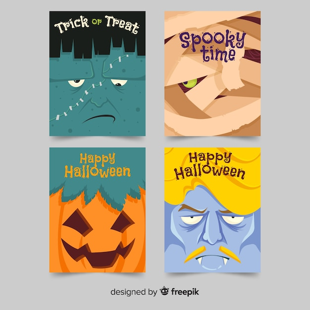 Flaches design halloween kartensammlung Kostenlosen Vektoren