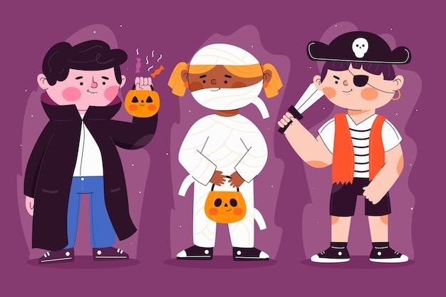 Flaches design halloween kinder set Kostenlosen Vektoren