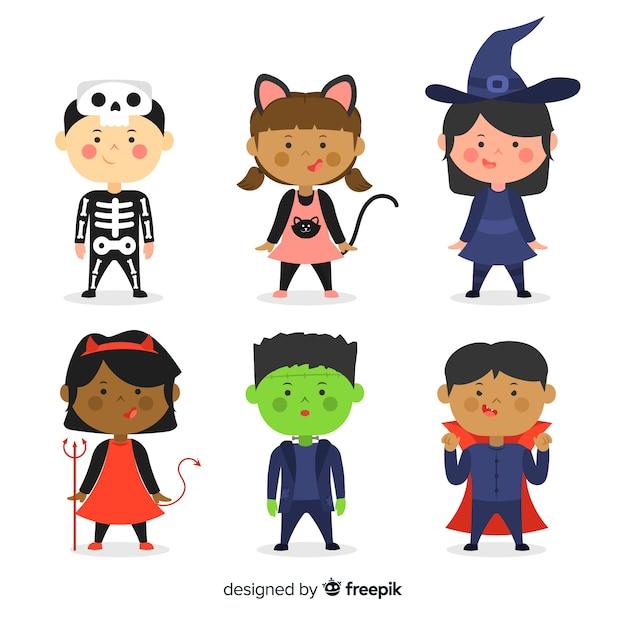 Flaches design halloween kinderkollektion Kostenlosen Vektoren
