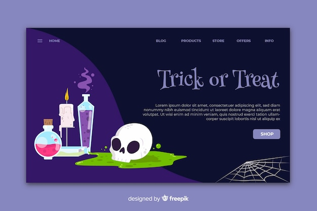 Flaches design halloween landing page vorlage Kostenlosen Vektoren