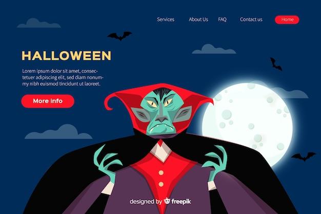 Flaches design halloween landing page Kostenlosen Vektoren