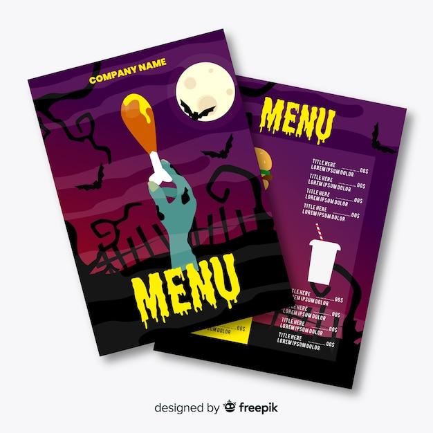 Flaches design halloween menüvorlage Kostenlosen Vektoren